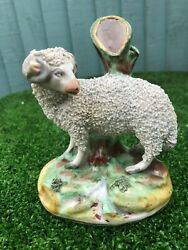 SUPERB 19thC STAFFORDSHIRE PORCELLANEOUS CURLY HORNED SHEEP SPILL VASE c1890s