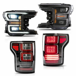 Customized Chrome FULL LED Headlights + Clear LED Taillights for 18-20 F-150