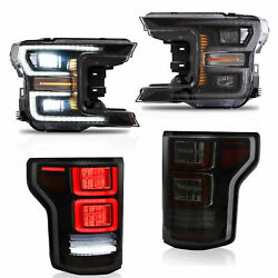 Customized Chrome FULL LED Headlights + SMOKED LED Taillights for 18-20 F-150