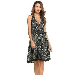 Women Vintage Sleeveless Floral Lace Halter Swing Dress With Belt EHE8