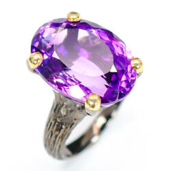Jewelry Art Design  Natural Amethyst 925 Sterling Silver Ring Size 8R52941