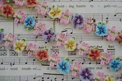 1y FRENCH OMBRE PINK BLUE YELL ROSETTE FLOWER ROCOCO VINTAGE DOLL RIBBON TRIM $13.99