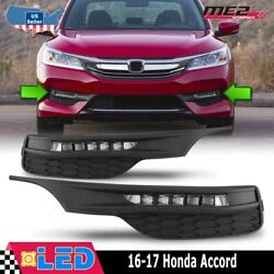 Fits 16-17 Honda Accord Clear Lens PAIR LED Fog Light Lamps+Wiring+Switch Kit $69.50