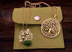 Tree of Life Necklace Pendant Spiritual Charm Jewelry for Women Girls Gift Pouch