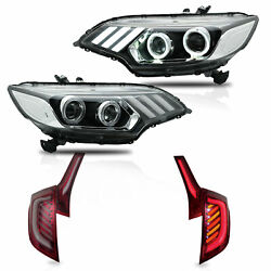 Customized LED Headlights+RED CLEAR LED Taillights for 2015-2019 Honda Fit