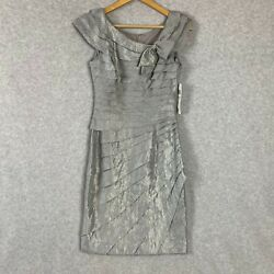 London Times Dress Sleeveless Steel Silver Party Cocktail Size 6 MSRP $108 $44.95