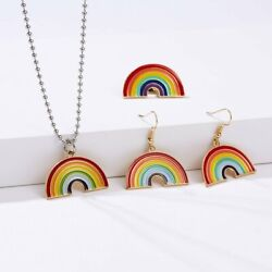 Fashion Rainbow GAY Necklace Earrings Brooch Pin Set Women Colorful Jewelry Gift