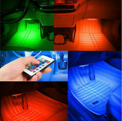 4pcs Car LED Light Interior Strip Lamp Atmosphere SUV Floor Remote Music Control $13.59