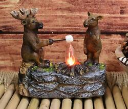 Rustic Forest Elk Moose Family Making Smores By Bonfire Night Light Statue Decor $42.99