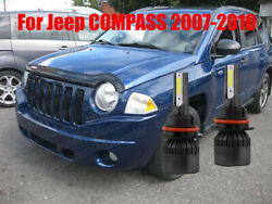 LED For Jeep COMPASS 2007 2010 Headlight Kit H13 6000K White Bulbs High Low Beam