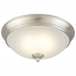 Commercial Electric 11 in Brushed Nickel LED Light Flush Mount Ceiling Lighting