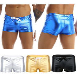 Men's Sexy Shiny Patent Leather Underwear Trunks Boxer Brief Swimwear Underpants