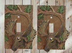 Rustic Western Stag Elk Moose By Pine Single Toggle Switch Plate Cover Set of 2 $23.99