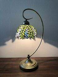 """Tiffany Style Table Lamp Stained Glass 8""""Lamp Shade Metal Base W11H21Inch ET0081 $95.00"""