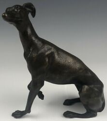 Antique Signed Antonio Pandiani Italian Seated Whippet Dog Bronze Sculpture SJS