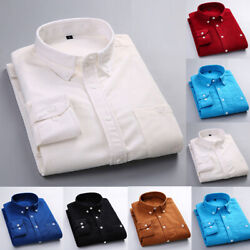 US Mens Long Sleeve Corduroy Shirt Button Down Poplin Winter Casual Warm Top