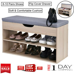 Shoe Storage Bench Stool Bamboo & Wooden Entryway Storage Rack WSeat Organizer✿