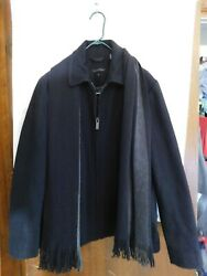 CALVIN KLEIN Mens Black Lined Coat w Scarf WoolPolyester Size Med Open Bottom