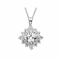 2.70 carat total  Princess and round Diamond 14K White Gold Pendant