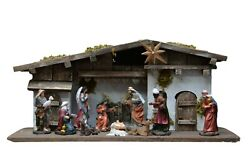 Large Realistic Wooden Complete Nativity Scene in Manger With Lighting Star