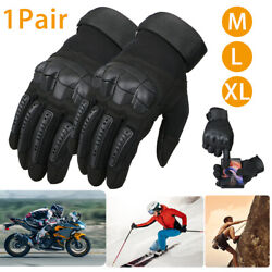 Leather Touch Screen Rubber Hard Knuckle Full Finger Gloves Motorcycle Motorbike $16.93