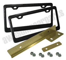 Us Canada License Plate Frame Carbon + Gold Front Relocator Adapter Bracket Jdm