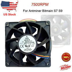 7500RPM Cooling Fan Replacement 4pin Connector For Antminer Bitmain S7 S9 Black $11.99