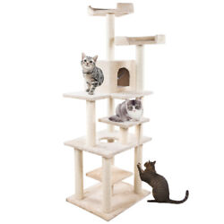 65quot; Cat Tree Condo Furniture Scratch Post Pet Play House Home Gym Tower Biege $74.99