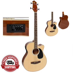 Electric Acoustic Bass Guitar Natural Solid Wood Construction w Equalizer NEW
