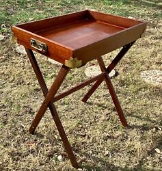 Vtg wood wooden brass serving Tray Top Butler end Table Folding Stand campaign