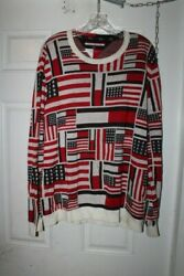 TOMMY HILFIGER USA FLAG COLORBLOCK MEN'S RED WHITE SWEATER SIZE  XL