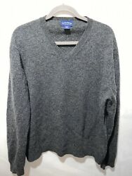 Club Room by Charter Club 2 Mens 100% Lambs Wool Heather Gray V Neck Sweater XL