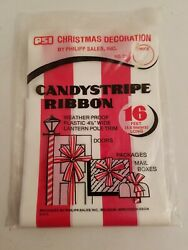 Vintage Philipp Sales Candy Cane Stripe Ribbon 16#x27; Indoor Outdoor Decorating