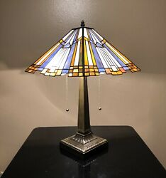Enjoy Tiffany Table Lamp 14 Inch Stained Glass Lamp Shade Zinc Base W19H21 Inch $129.00