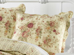 ANTIQUE ROSE QUILTED STANDARD SHAM : CHIC COTTAGE CREAM YELLOW SHABBY RED ROSES $21.95