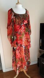 Signature new 2pcs red with tropical pattern dress lined M $35.00