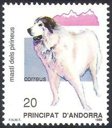 Andorra 1988 Pyrenean Mountain Dog Dogs Pets Animals Nature Protection 1v n18702 GBP 1.25