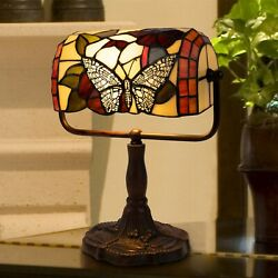 Tiffany Style Bankers Table Desk Lamp Stained Glass LED Bulb Lighted Artwork $54.99