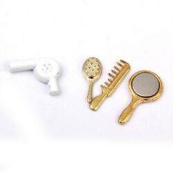 Dolls House Mini Bathroom 4pcs set Combs Hair Drier Mirror Furniture Accs Decor $7.17