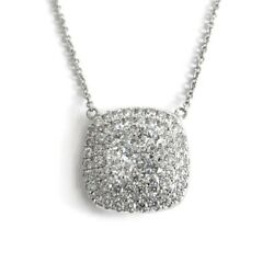 Diamond Cushion Halo Cluster Pendant Necklace 14K White Gold 2.36 CTW