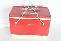 Vintage Unique 11 Gallon Red Metal Coleman Cooler with Folding Handles amp; Tray $189.99