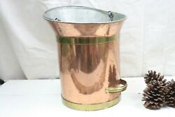 Copper Pail Bucket w Spout Milking Pail 10 Litter made in Holland Tin Zinc Lined $95.00