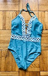 New Cupshe swimsuit One piece Plunge neckline Lace Teal Sexy size M $18.59