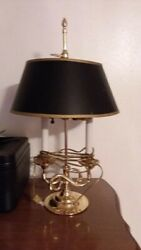 BALDWIN BRASS DOUBLE CANDLESTICK LAMP DESK WITH BALDWIN SHADE & FINIAL