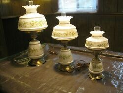 RARE VINTAGE Set Of 3 Matching Gone With The Wind Hurricane Parlor Lamps