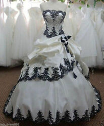 White Black Vintage Gothic Wedding Dresses Lace up Bridal Ball Gowns Custom Size