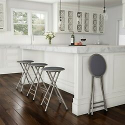 2 Pack Padded 24 Inch Cushioned Folding Stools Holds 300 Lbs Extra Seating Gray $39.99
