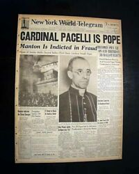 POPE PIUS XII Becomes Axis Germany & Italy Era PAPACY Elected 1939 Newspaper  $57.00
