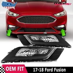 Fits 17-18 Ford Fusion PAIR Bumper Fog Lights Clear Lens Lamps+Wiring+Switch Kit $115.99