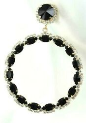 Extra Large Circle Black Crystal Earrings Drag Queen Chandelier